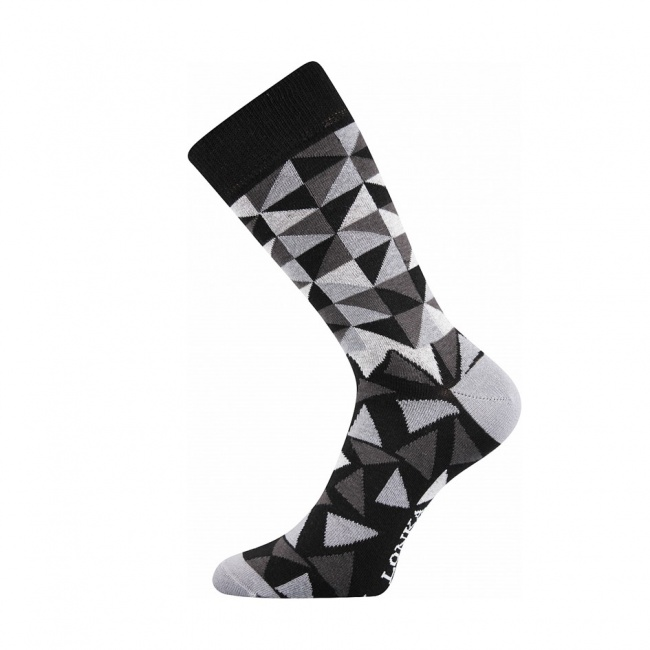 Černé pánské ponožky s šedo černými trojúhelníky