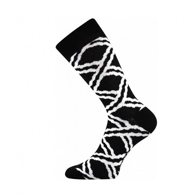 Černé pánské ponožky s bílými čárami