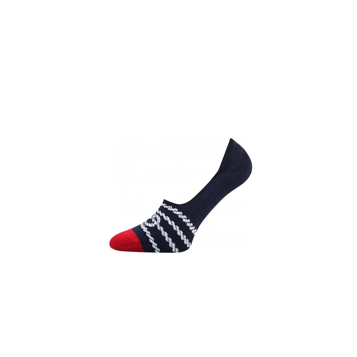 Tmavě modro červené pánské nízké ponožky PROVAZ
