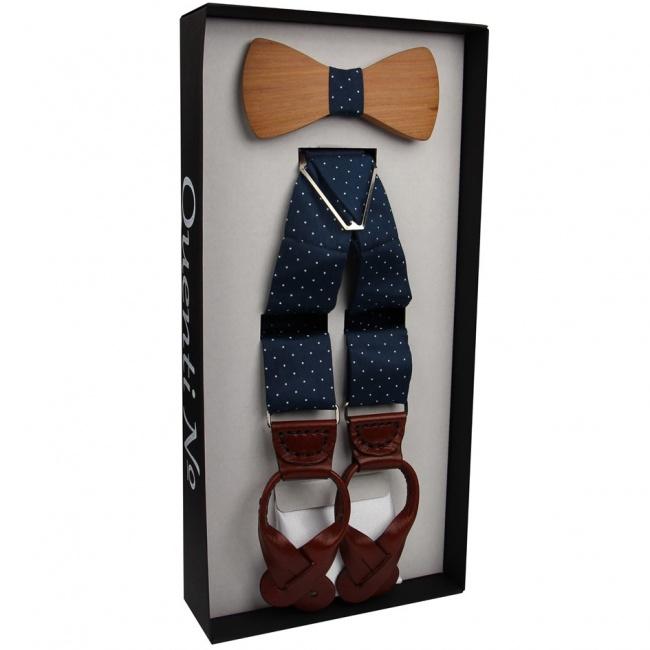 Tmavě modrý Luxusní pánský set s puntíky Šle s dřevěným motýlkem a bílým kapesníčkem