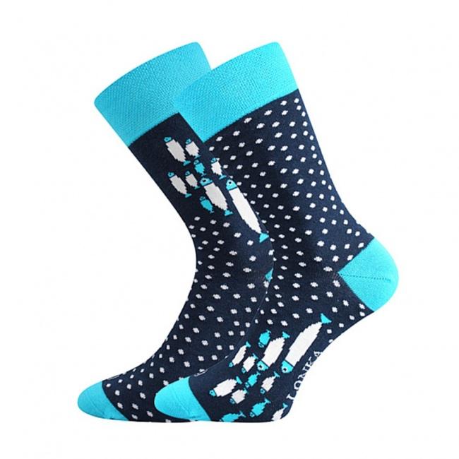 Tmavě modro tyrkysové pánské ponožky s RYBAMI