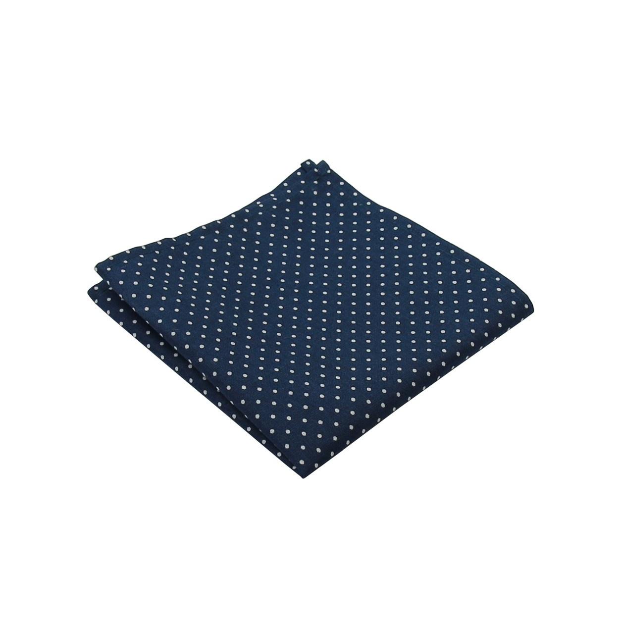 Tmavě modrý pánský kapesníček do saka s puntíky