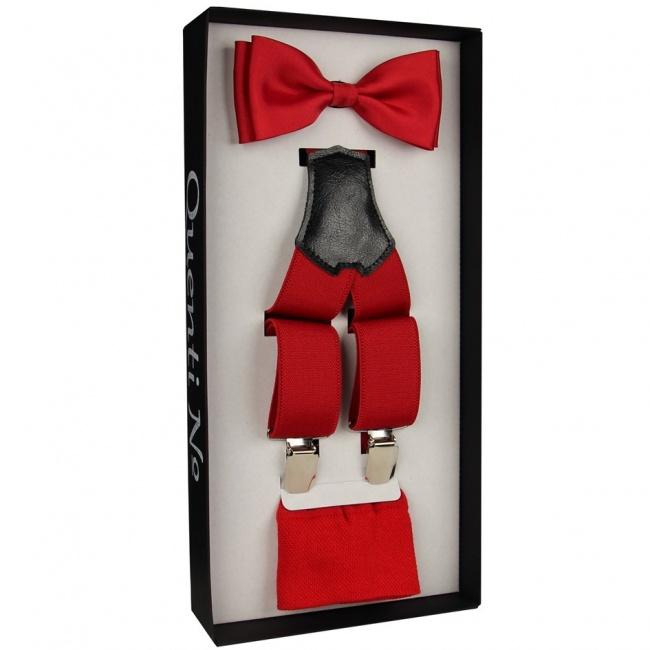 Červený Luxusní pánský set Šle a motýlek s ponožkami