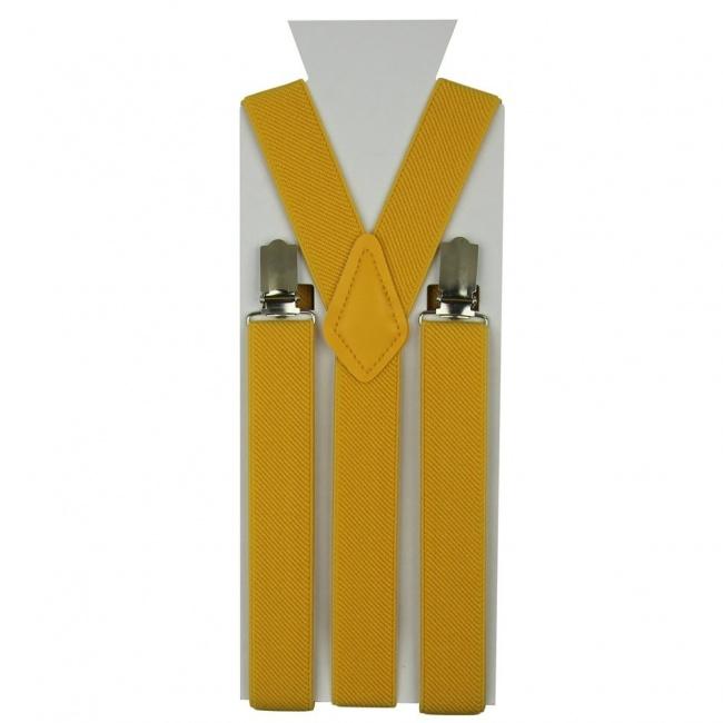 Žluté pánské šle - kšandy 110cm