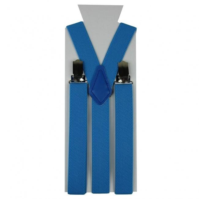 Moderní tyrkysové pánské šle ve tvaru Y o délce 110 cm.