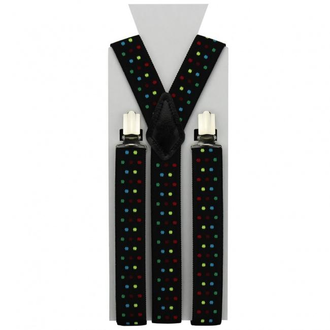 Černé pánské šle - kšandy s barevnými puntíky