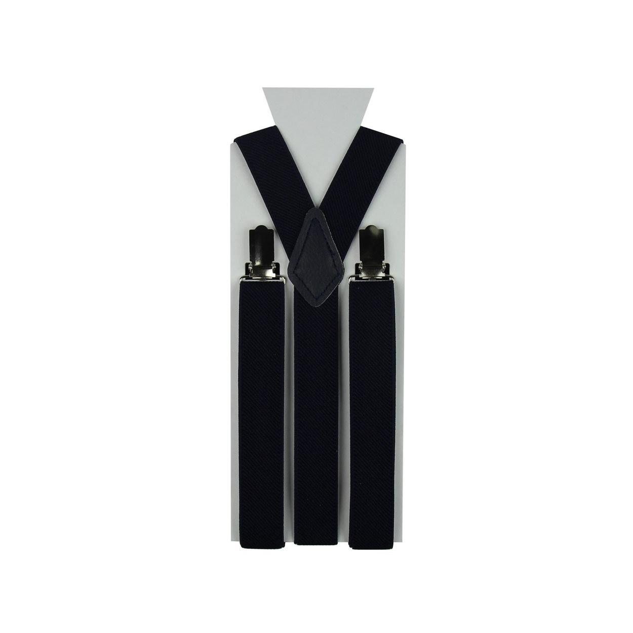 Moderní tmavě modré pánské šle ve tvaru Y o délce 110 cm.