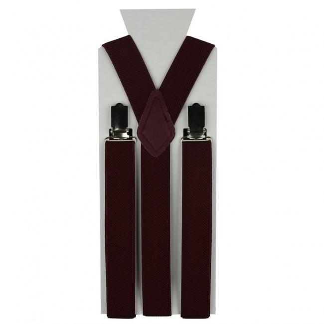 Moderní vínově červené pánské šle ve tvaru Y o délce 110 cm.