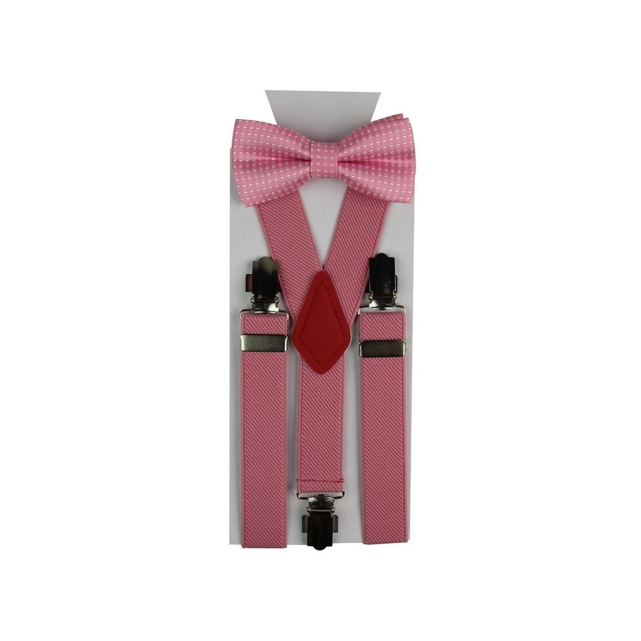 Růžový dětský set Šle & Motýlek s puntíky