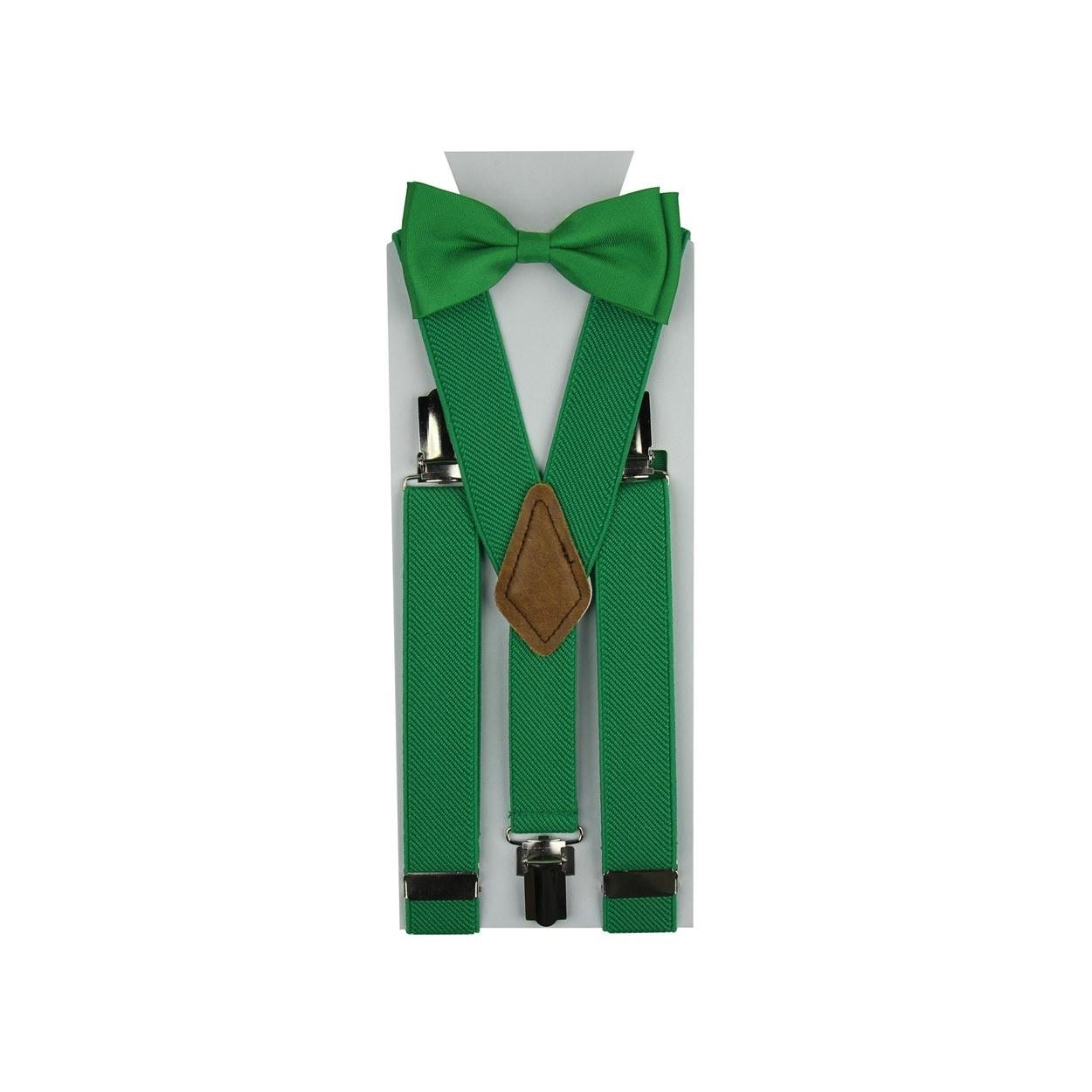 Zelený dětský set Šle & Motýlek jednobarevný
