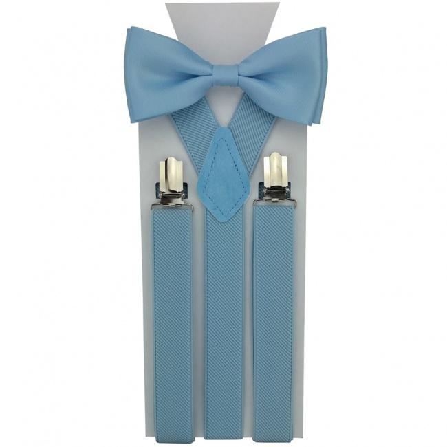 Světle modrý pánský set Šle a Motýlek jednobarevný matný
