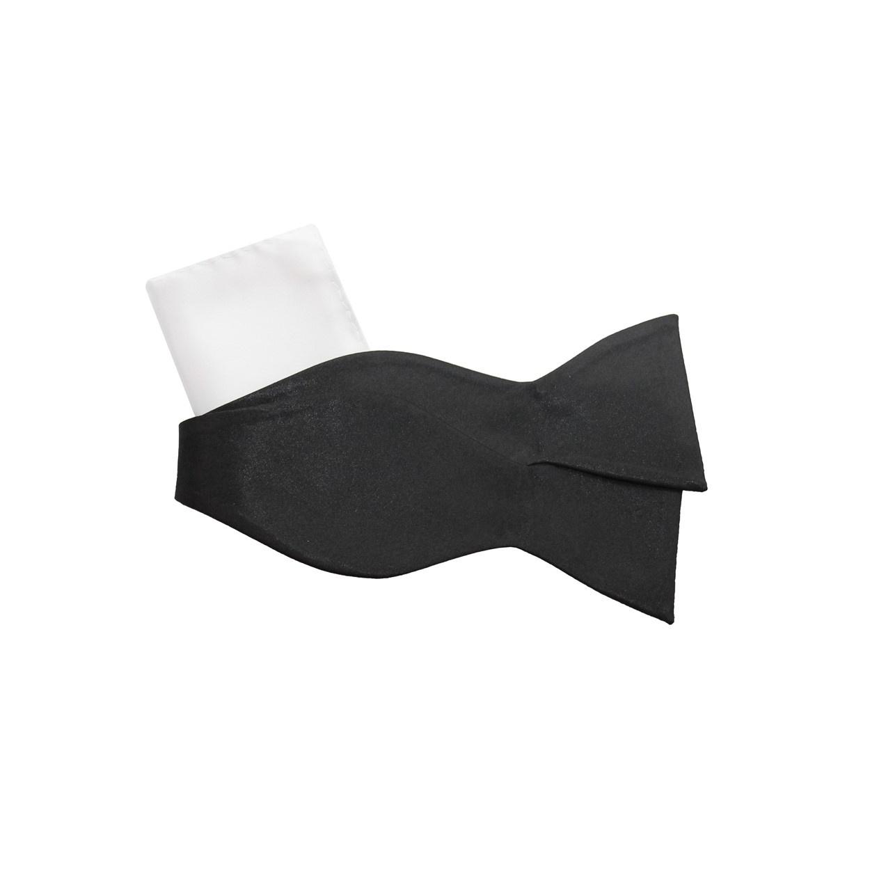 Černý vázací motýlek s kapesníčkem