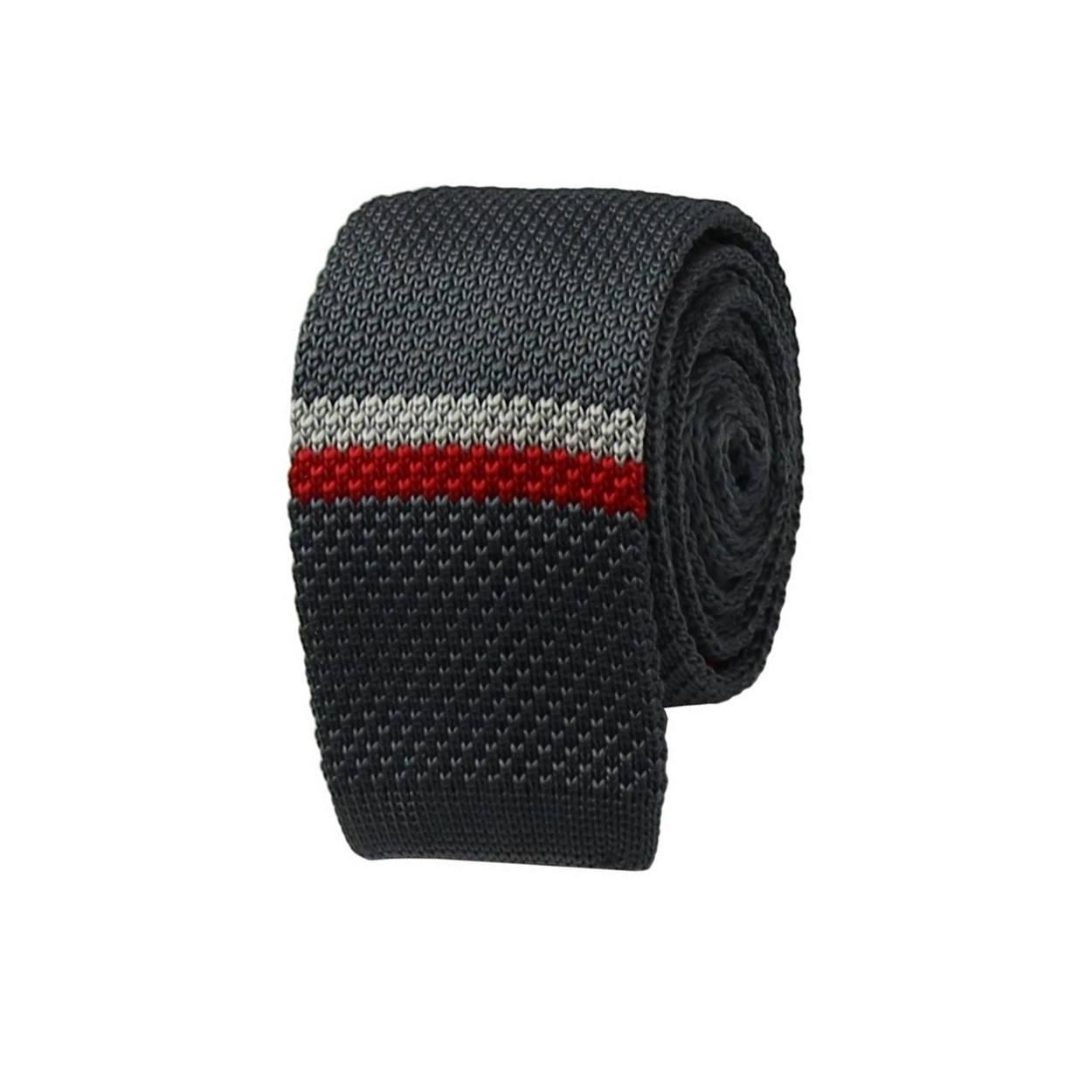 Šedá pletená kravata s bílo červeným pruhem