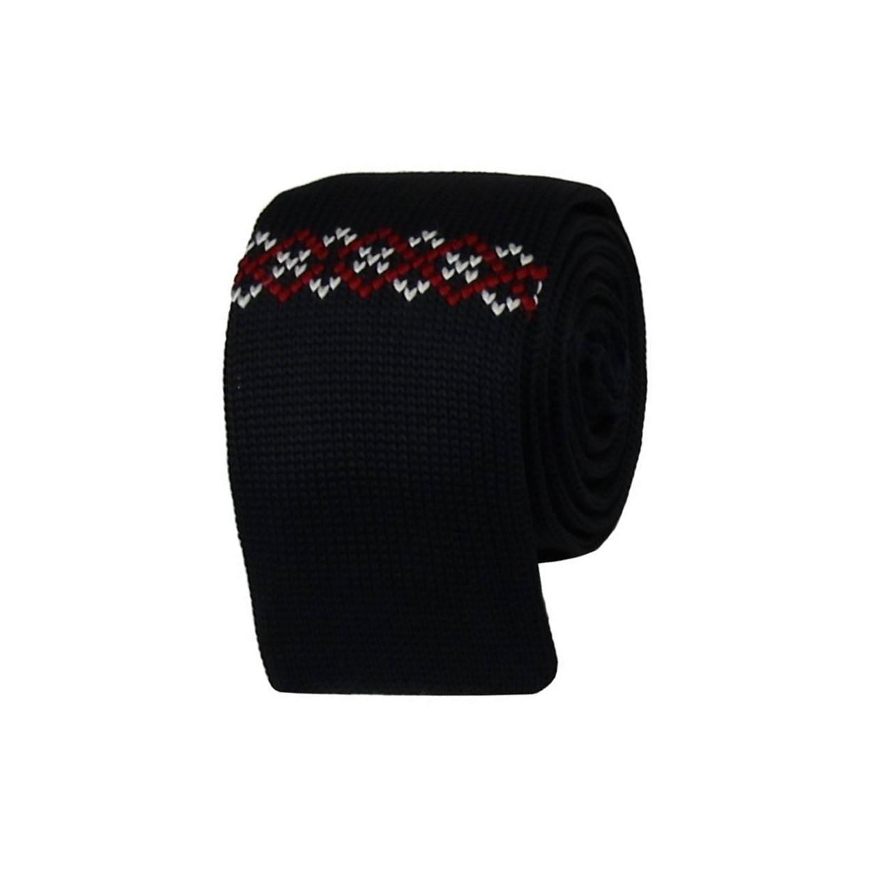 Tmavě modrá pletená kravata s bílo červeným vzorem