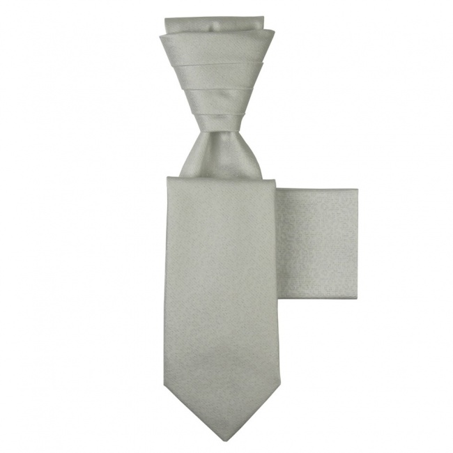 Bílo stříbrná svatební kravata s kapesníčkem - Regata