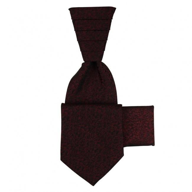 Vínově červená svatební kravata s kapesníčkem - Regata