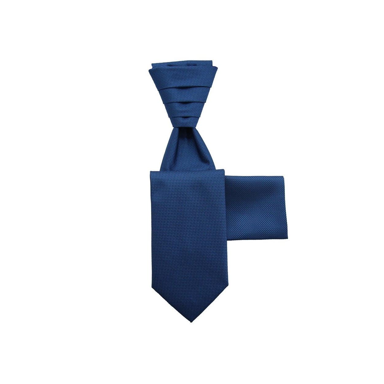 Modrá svatební kravata s kapesníčkem - Regata s jemným mřížkováním