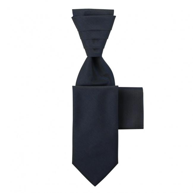 Modro šedá svatební kravata s kapesníčkem - Regata