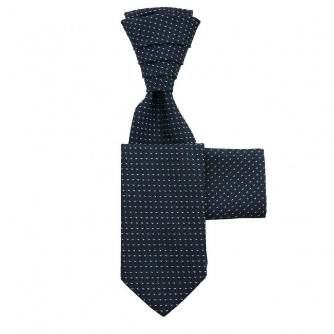 Tmavě modrá svatební kravata s kapesníčkem - Regata se stříbrnými trojúhelníčky