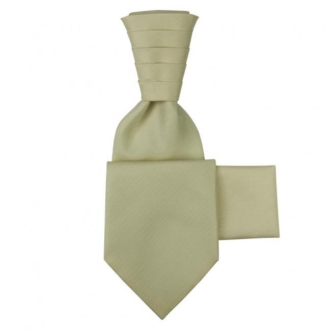 Slonová kost svatební kravata s kapesníčkem - Regata s jemným rýhováním