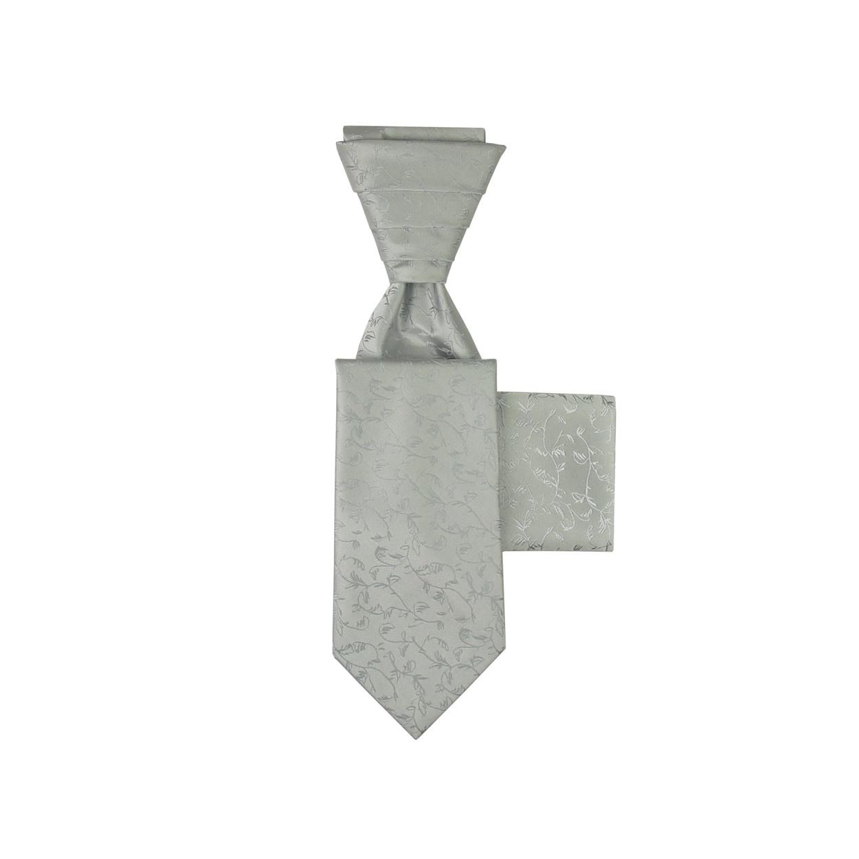 Stříbrná svatební kravata s kapesníčkem - Regata s vyšivaným kvítím