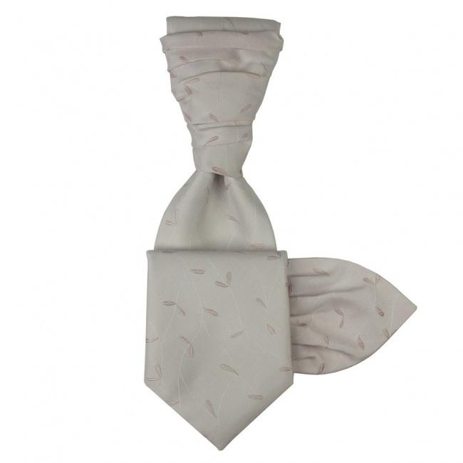 Světle růžová svatební kravata s kapesníčkem - Regata s vyšivanými lístečky