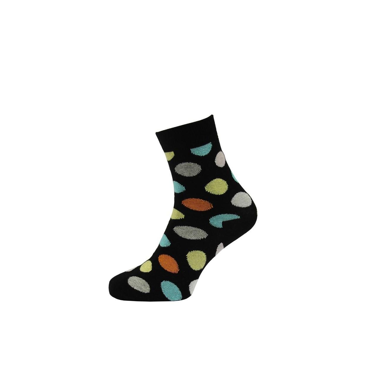 Černé pánské ponožky s barevnými puntíky