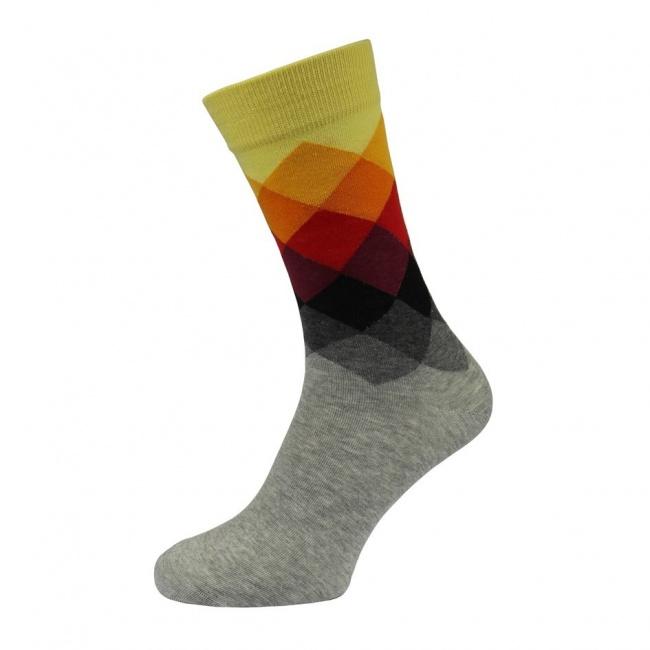 Šedé pánské ponožky s barevným károváním