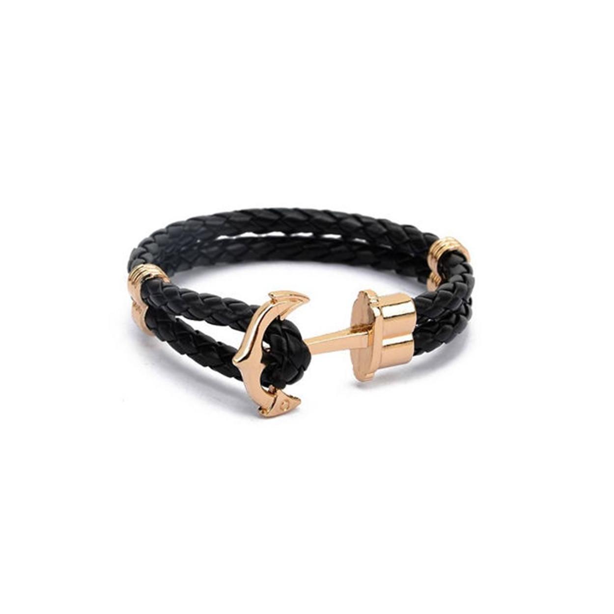 Černý pletený náramek se zlatou kotvou