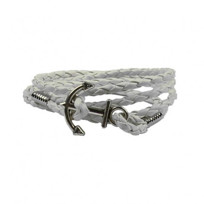 Bílý pletený náramek se stříbrnou kotvou