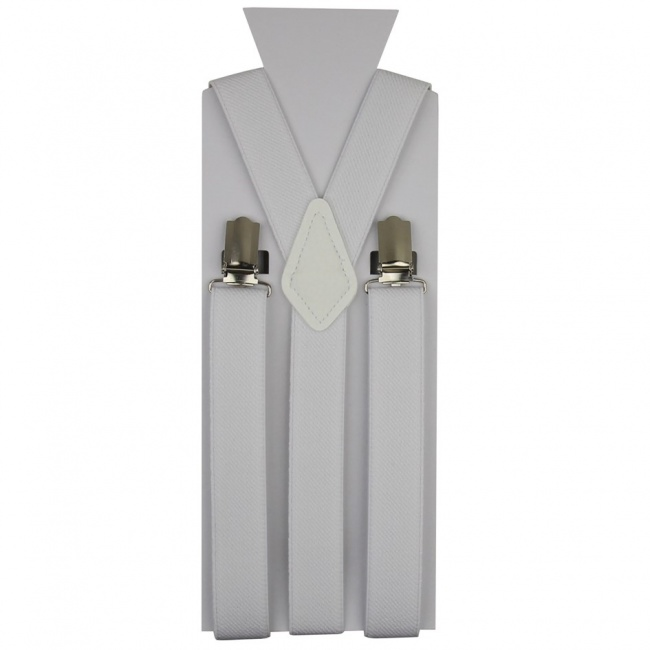 Bílé pánské šle - kšandy 110cm