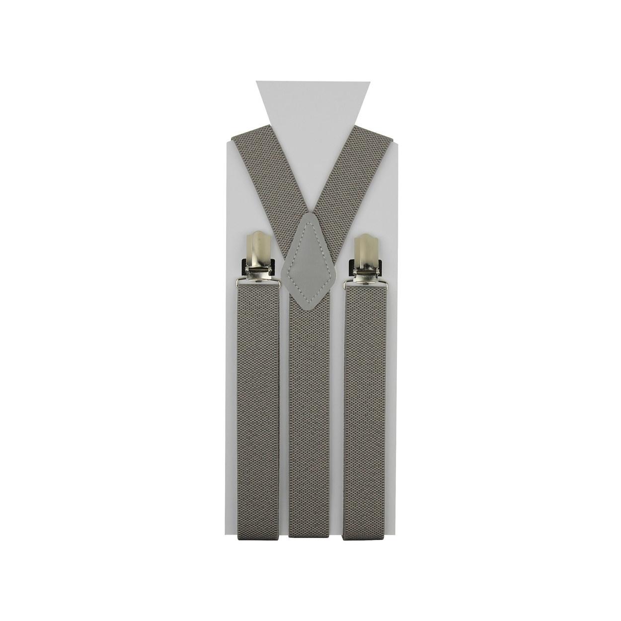 Šedo hnědé pánské šle - kšandy 110cm