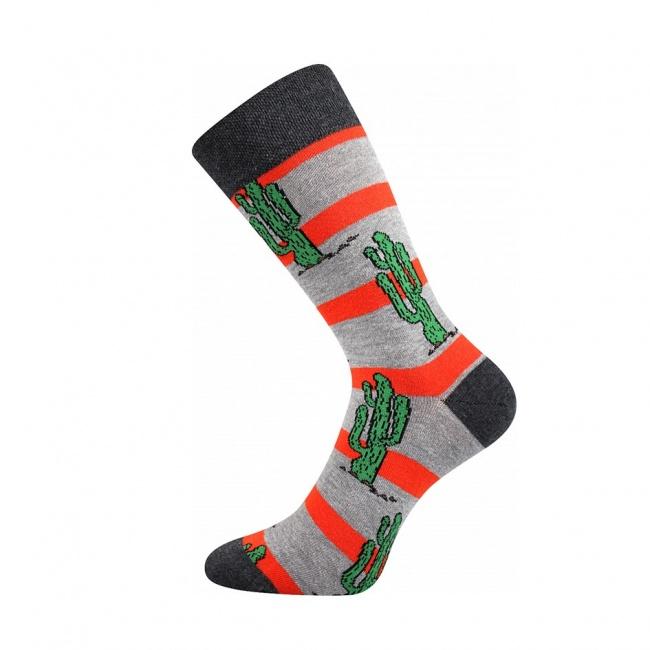 Šedé pánské ponožky KAKTUS
