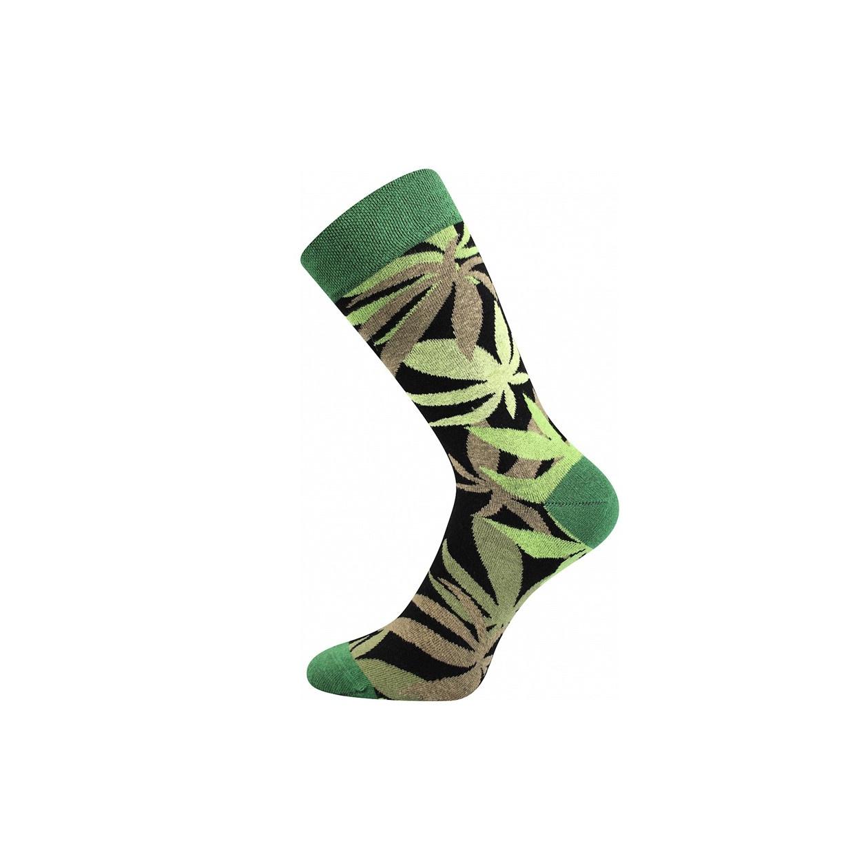 Černo zelené pánské ponožky KONOPÍ