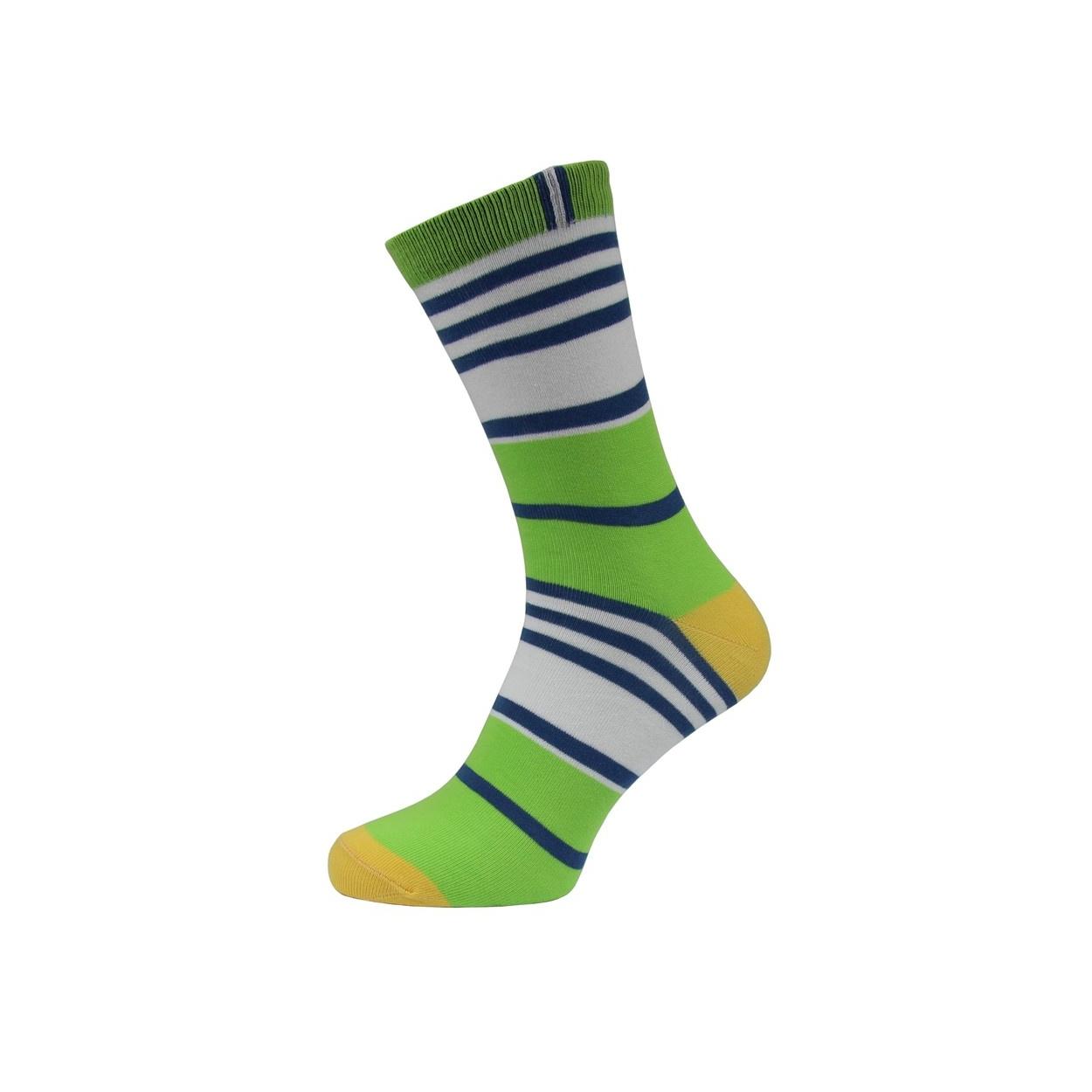 Zeleno bílé proužkované pánské ponožky