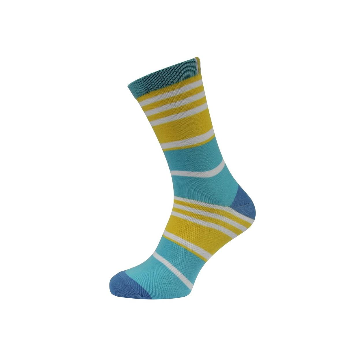 Tyrkysovo žluté proužkované pánské ponožky