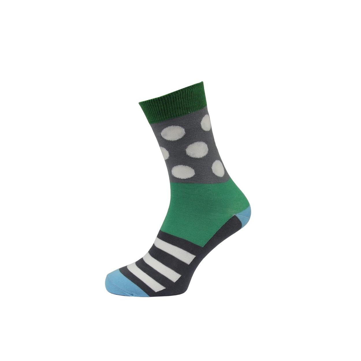 Šedo zelené pánské ponožky s puntíky