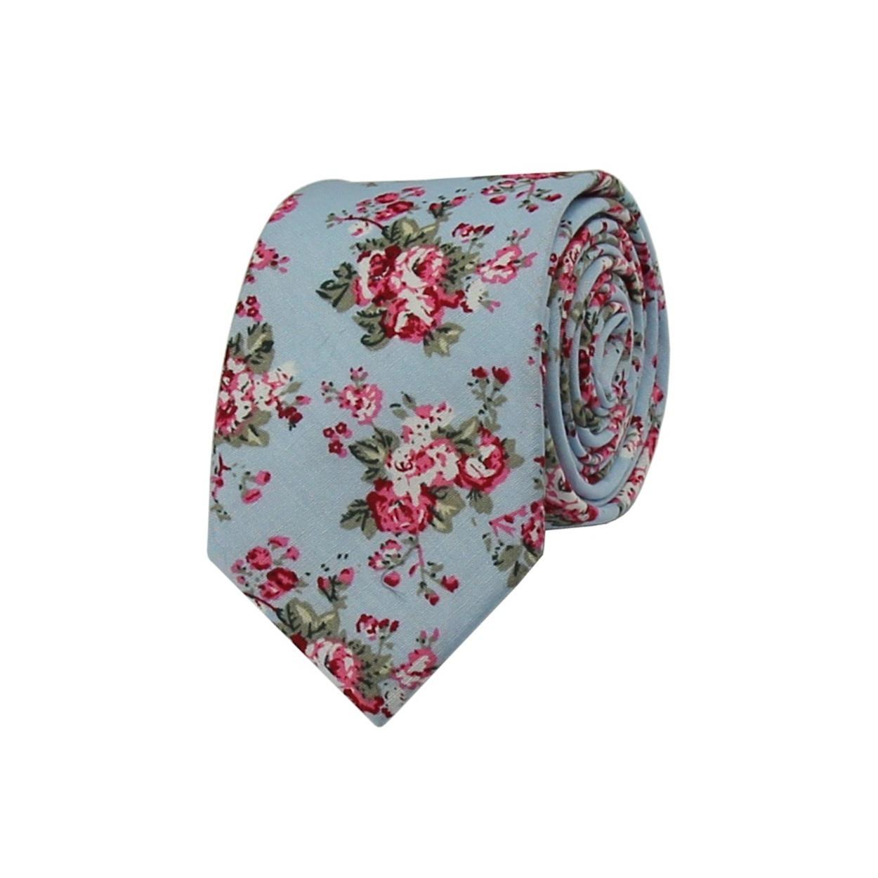 Světle modrá květovaná pánská kravata