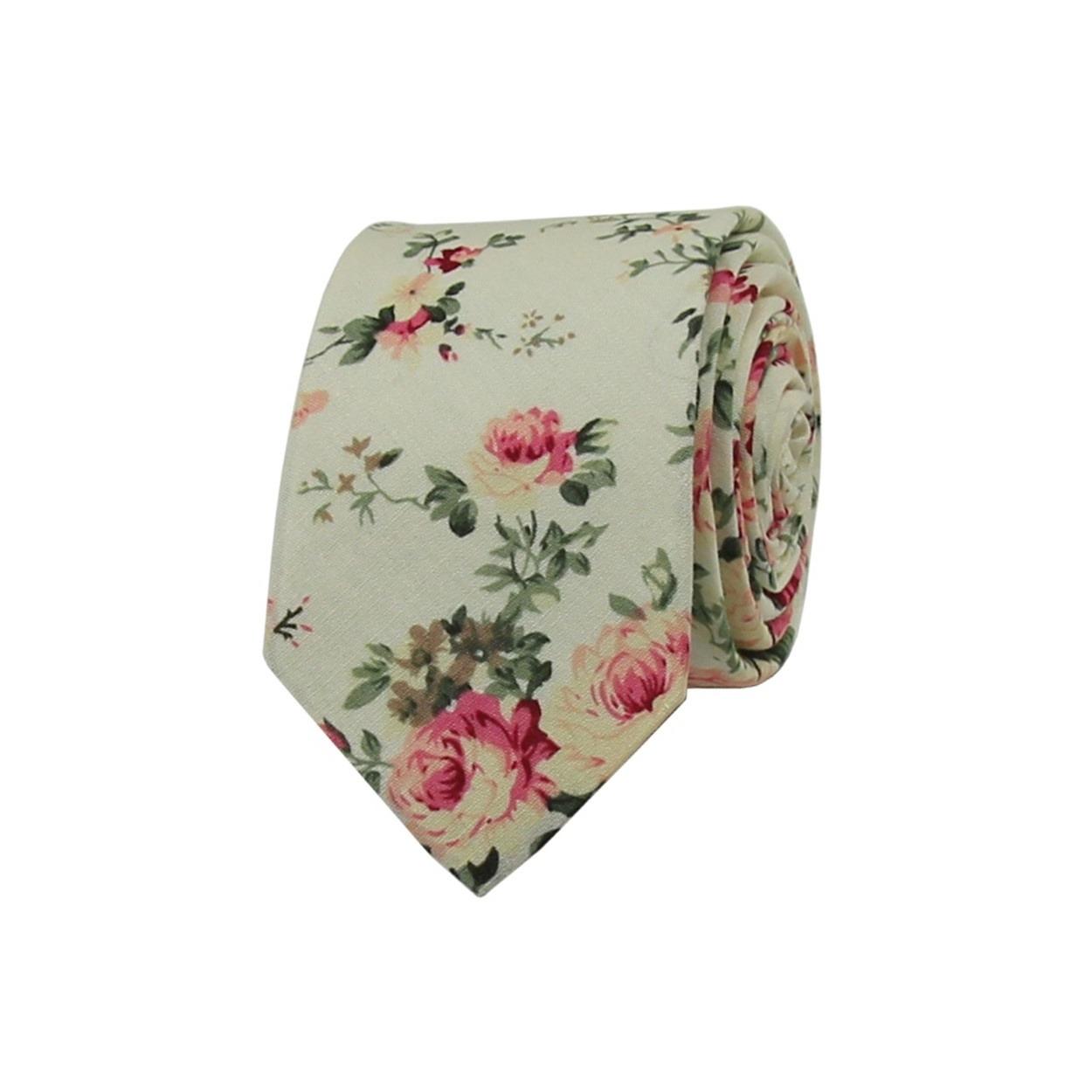 Béžová květovaná pánská kravata