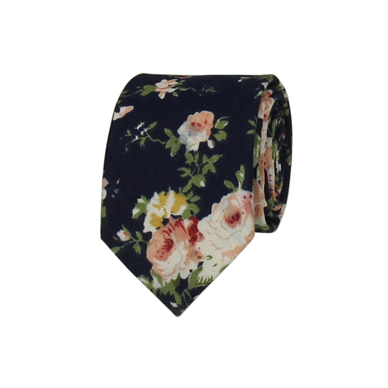 Tmavě modrá květovaná pánská kravata
