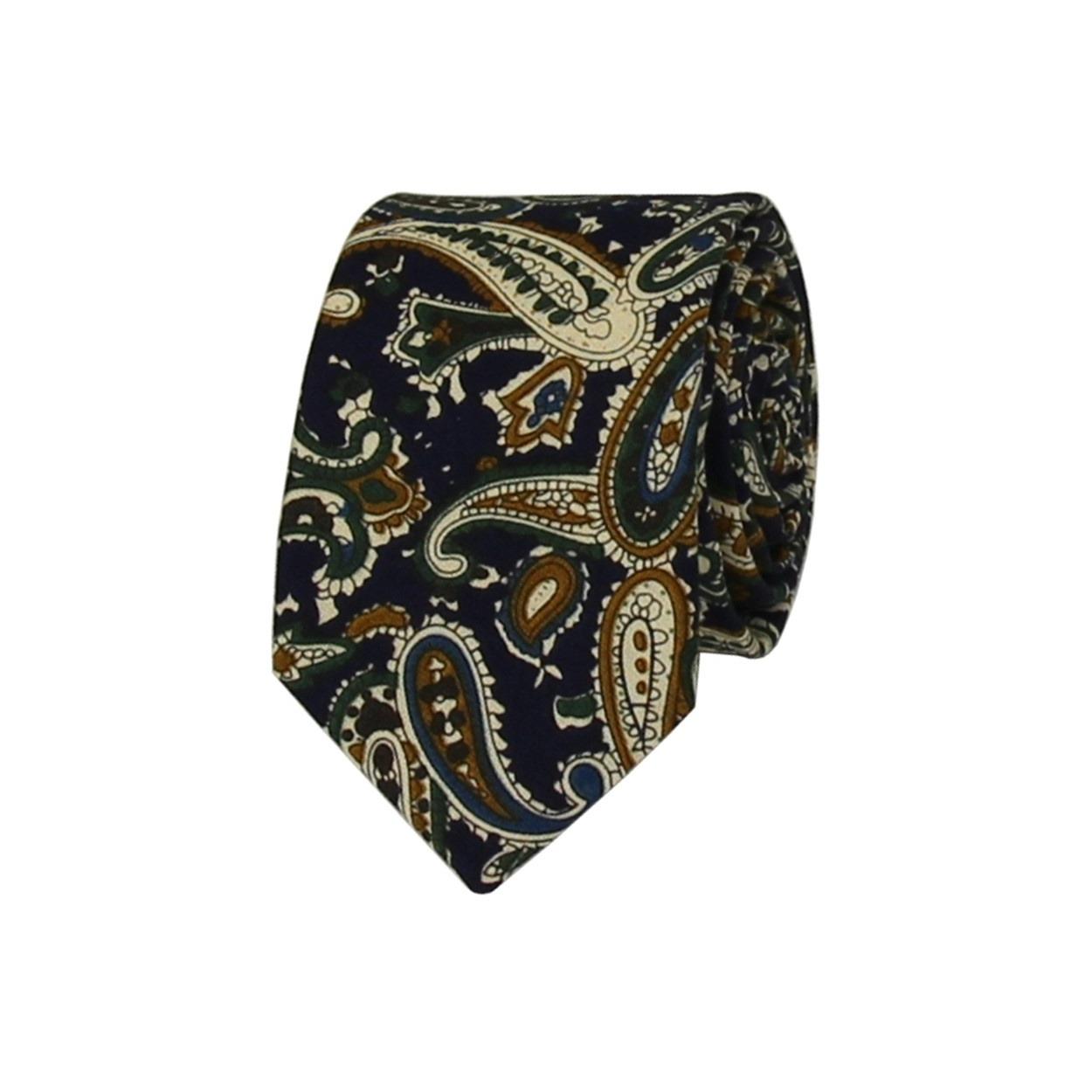Tmavě modrá pánská bavlněná kravata s Paisley vzorem