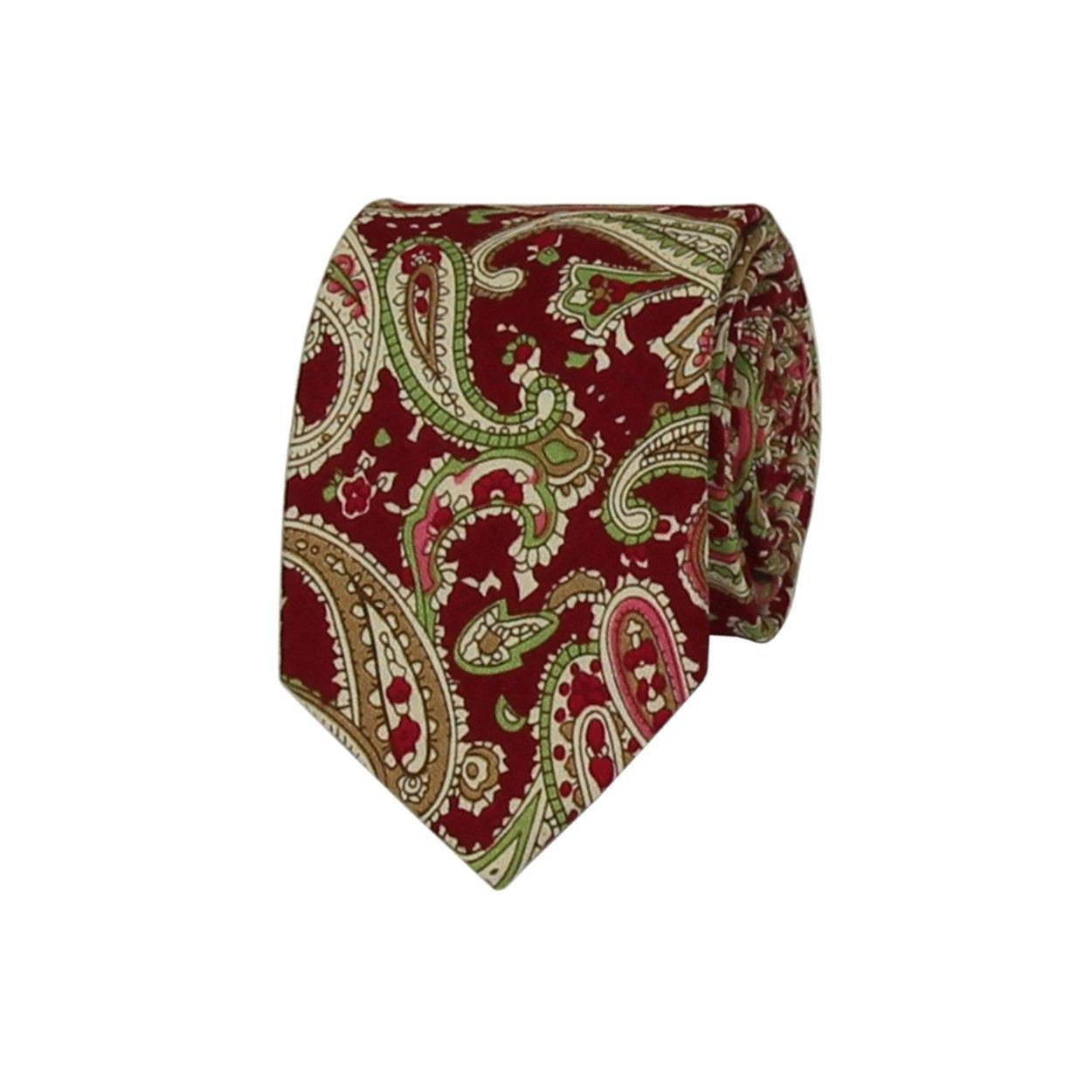 Červená pánská bavlněná kravata s Paisley vzorem