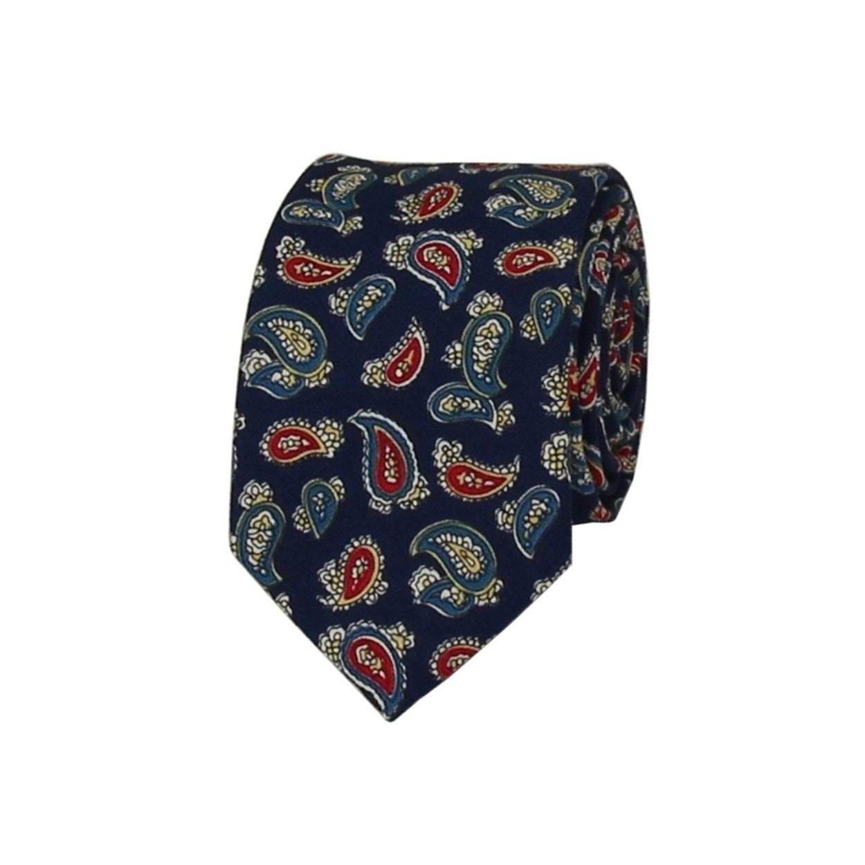 Modrá pánská bavlněná kravata s Paisley vzorem