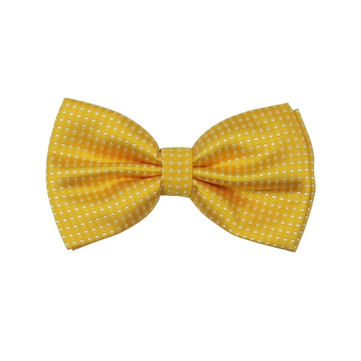 Žlutý saténový pánský motýlek s puntíky