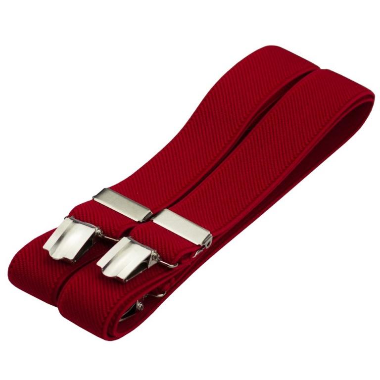 Červené pánské šle - kšandy 125cm