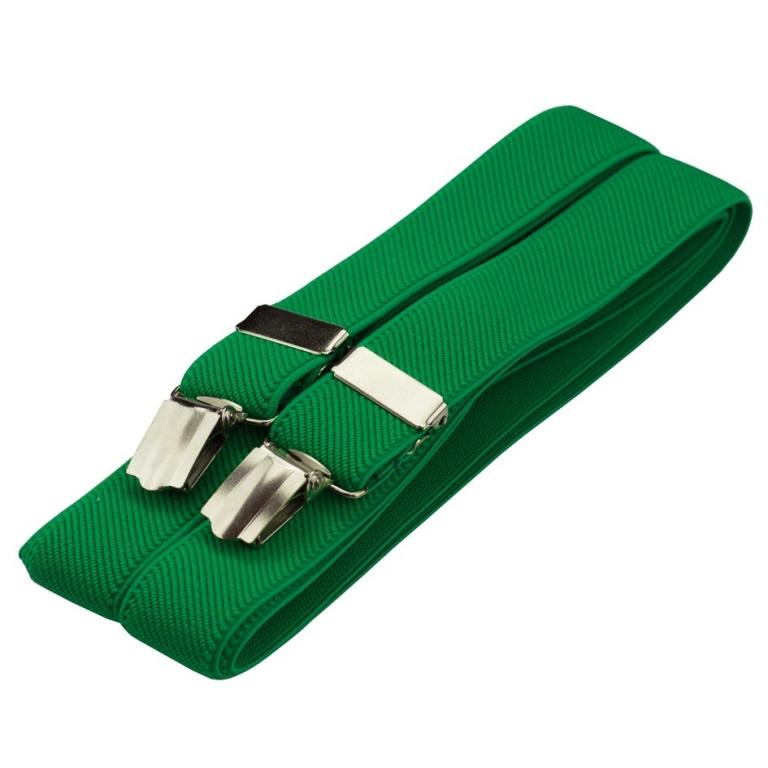 Zelené pánské šle - kšandy 125cm