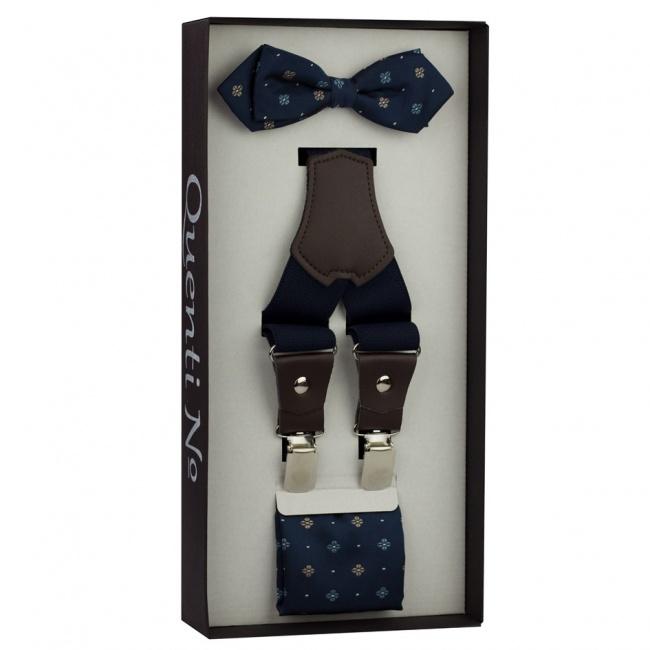 Tmavě modrý Luxusní pánský set Šle s koženým středem a květovaný motýlek s kapesníčkem v k