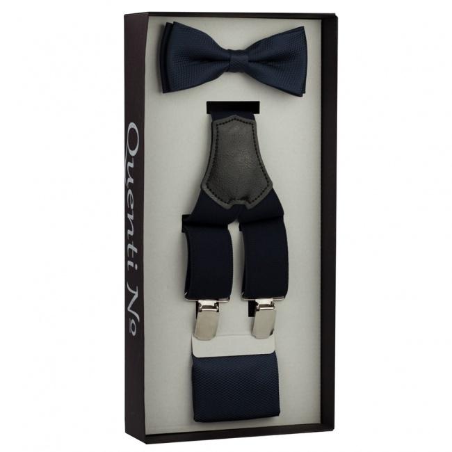 Tmavě modrý Luxusní pánský set Šle s motýlkem a kapesníčkem s jemným vzorem