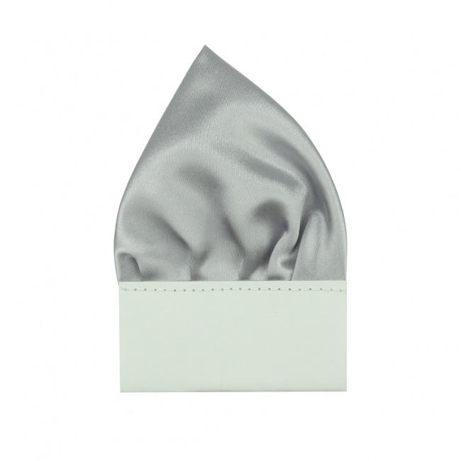 Stříbrný pánský kapesníček do saka lesklý