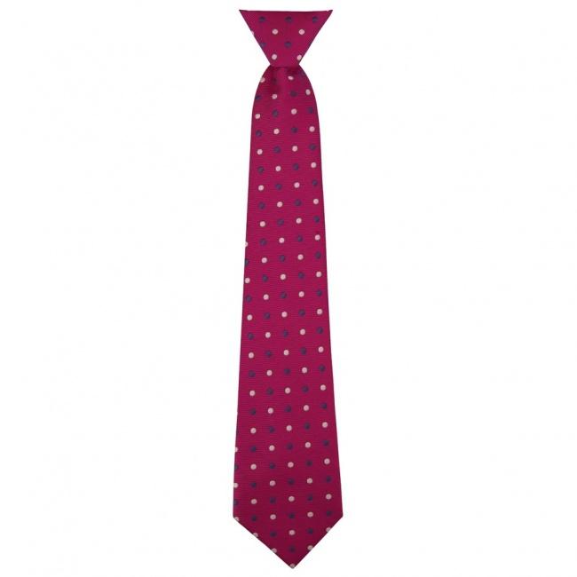 Cyklamově růžová dětská kravata s barevnými puntíky